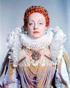 "Bette Davis costumed as Queen Elizabeth I in ""The Private Lives of Elizabeth and Essex"" costarring Errol Flynn."