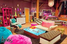 this bedroom is to big for me except I love the ice cream sandwich seat