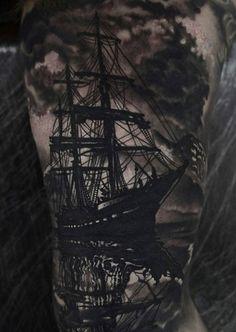 Boat leg tattoo - 100 Boat Tattoo Designs  <3 <3