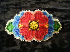 Native American Beaded Red Flower Barrette Shoshone Bannock Excellent Quality | eBay