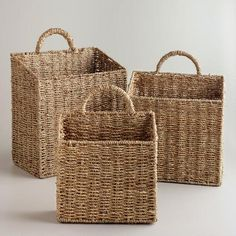 WorldMarket.com: Rachael Wall Baskets: Use for shoes in entryway? hang on wall to store hats, gloves, sunglasses, etc? Use to organize mail? Use as small hamper in the downstairs bath?