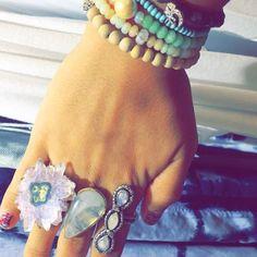 Bohemian Jewelry Outfit Ideas Crystal Gems Rings Turquoise Amethyst Tahitian Pearls Bahgsu Jewels Om Opal Moonstone Ring Rings Boho Luxe Glam Fashion Womens Outfit Ideas Womens Fashion