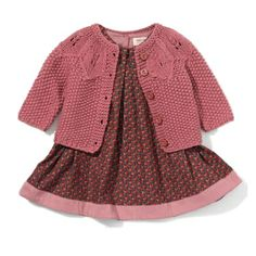 Gorgeous outfit combo. Organic knit cardigan in raisin £25.22 teamed with Baby Marta Tulip dress £25.25 both from #noanoa stocked at #PrimaryColours #LymeRegis buy from us at www.primarycolours.com