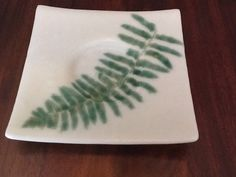 Wedding Candle Plate - This handmade plate makes a unique wedding candle plate for a spring wedding. Use it as decor or as a unity candle holder. A real fern was used and a permanent impression is left behind in the glass plate like a fossil ... by chelkay. #wedding #springwedding #woodland #rustic #candle