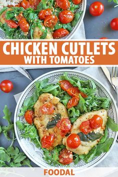 A tasty, healthy dinner in less than 30 minutes? These chicken cutlets with tomatoes make it possible and oh-so-flavorful as well. Get the recipe now. Recipe Using Chicken, Great Chicken Recipes, Turkey Recipes, Fish Recipes, Baked Chicken Cutlets, Easy Baked Chicken, Healthy Recipes, Savoury Recipes, Healthy Eats