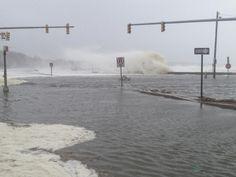 Ocean Road, Narragansett during Hurricane Sandy.