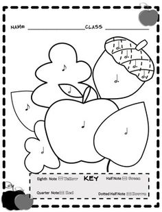 Music Coloring Sheets (Fall Color By Note)