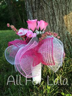 Pink Rose Cemetery Vase Arrangement with Deco Mesh Frills