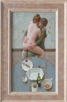 Kenne Gregoire (The Netherlands, 1951-) > Spaghetti con amore | 60 x 33 cm, acryl op paneel