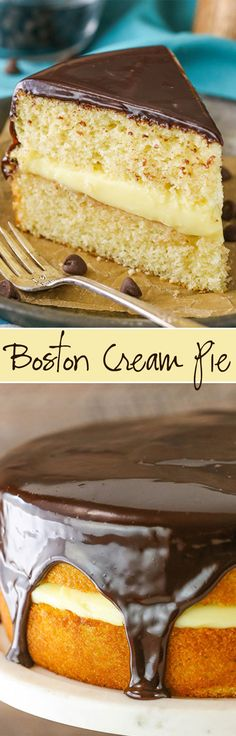 A classic vanilla cake with pastry cream filling and chocolate ganache! A classic vanilla cake with pastry cream filling and chocolate ganache! Baking Recipes, Cake Recipes, Dessert Recipes, Cupcakes, Cupcake Cakes, Cake Cookies, Just Desserts, Delicious Desserts, Boston Cream Pie