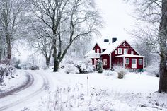 Perfect red cottage in the snow I Love Winter, Winter Snow, Winter White, Winter Christmas, Scandi Christmas, Red Houses, Red Cottage, Winter Scenery, Snowy Day