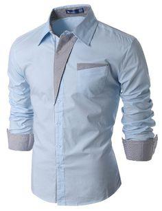 Doublju Striped Slim Fitted Wrinkle Free Dress Shirt for men SKY (US-2XL) Doublju http://www.amazon.com/dp/B00JL9E61U/ref=cm_sw_r_pi_dp_uTS0ub1ABH9C9