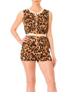 12d6ecfc742f Vintage 1970s Abstract Animal Print Front Zip Short Romper Jumpsuit Size  XS