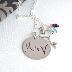 Personalized Hand-Stamped Couple Key Necklace-  Couple Initial Necklace with Heart Key and Birthstones. $48.00, via Etsy.