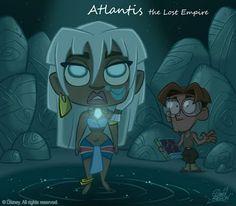 Disney Chibi: Atlantis the Lost Empire Disney Magic, Disney Pixar, Walt Disney Animation, Disney Films, Disney Fan Art, Kida Disney, Disney E Dreamworks, Walt Disney Characters, Disney Cartoons