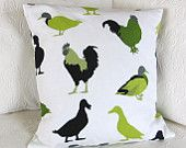 Pillow cushion cockerels, chickens and ducks in lime green and black, 16 x 16