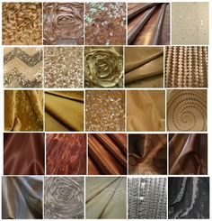 Linen from La Tavola: Metallic tones: add grittiness, brightness, lux texture to ballroom. Many tones avail to make room quadrants/color blocks.  COLORS  -Champagne/Blush: Birth, Spring  -Gold: Summer, Prime of life   -Copper: Fall, Autumn of life   -Silver: Winter, end of life  FABRICS: Leather ribbons --Ribbon Flowers (3D)--Flower Petals (3D)--Dense micro-sequins: solid and fabulous chevron pattern--Shimmer taffeta solid and stripe-- Velvet crush--Faux Dupioni with embroidery ($ range…