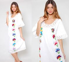 Beautiful Vintage s Mexican Wedding Dress White Cotton Embroidered Hippie Dress by LotusvintageNY on Etsy