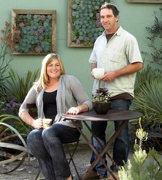"cara and will meyers, owners of DIG gardens in santa cruz, california, are on top of the vertical-gardening trend. ""vertical gardens are a . Succulent Frame, Succulent Display, Vertical Succulent Gardens, Hanging Succulents, Succulents Garden, Growing Succulents, Dig Gardens, Amazing Gardens, Outdoor Gardens"