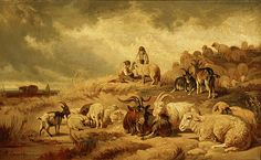 Anton Braith (German, 1836-1905). Goats and Sheep, ca. 1870. Oil on linen. 11 5/16 x 18 5/8 in. Charles and Emma Frye Collection, 1952.016
