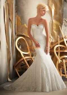 Robe de marié sirène dentelle cristal col en coeur