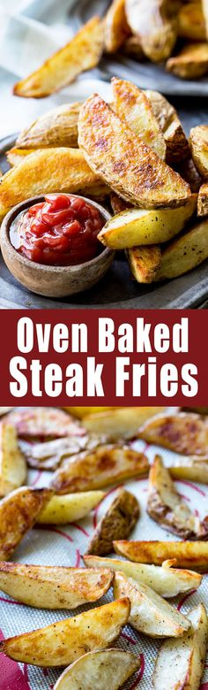 Steak Fries Crispy and easy oven baked steak fries. These fries have the perfect crispy exterior and a soft interior.Crispy and easy oven baked steak fries. These fries have the perfect crispy exterior and a soft interior. Potato Dishes, Potato Recipes, Vegetable Recipes, Onion Recipes, Savoury Dishes, Oven Baked Steak, Cooking Recipes, Healthy Recipes, Cooking Stuff