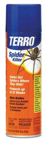 Terro 2300 16-Ounce Spider Killer Aerosol by Terro. $5.78. Creates a long-lasting barrier to keep pests from coming back. 16 oz. aerosol can. Helps in creating a barrier to repel spiders from returning to your home. Can be used indoors and outdoors. Instantly kills spiders. From the Manufacturer                Terro Spider Killer Aerosol - 16 oz. #2300                                    Product Description                Pyrethrin and Permethrin combine to instantly kill...