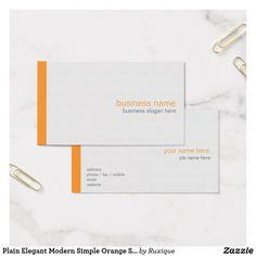 Plain Elegant Modern Simple Orange Stripe on White Business Card #businesscard #Elegant #Modern #Simple #Orange #Stripe #White
