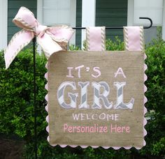 Burlap Garden Flag - It's a Girl -Custom Welcome Baby Embroidery Applique by sewgoddesscreations on Etsy Baby Embroidery, Embroidery Monogram, Machine Embroidery, Custom Embroidery, Burlap Garden Flags, Burlap Flag, Burlap Signs, Chevron Bow, Burlap Crafts