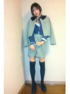 ジャケットとスカートのセットアップコーデ(  ^^)🎶 好きなカラー💕 なので靴もグリーンで合わ