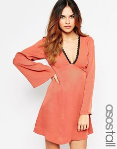 ASOS+TALL+Babydoll+Skater+Dress+With+Lace+Back