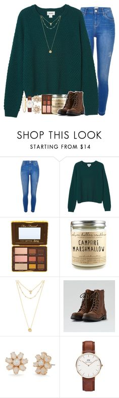 """do you know where I can find cute and affordable shoes?"" by gra-nola ❤ liked on Polyvore featuring River Island, Monki, Too Faced Cosmetics, BaubleBar, American Eagle Outfitters, Kate Spade, Daniel Wellington and A.P.C."