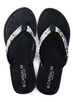 8837e216f0afb OPIYNO Women Tyra Luso Bohemia Navy Blue EVA Flat Heel Flip Flops Thong  Sandals 5M US