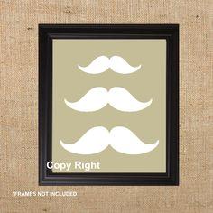 "Home Decor Art Print of Mustache, 8x10"" one print , For Living room, office decor, or bedroom decor. $18.00, via Etsy."
