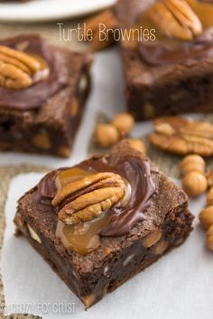 Turtle Brownies | crazyforcrust.com | A ton of turtle flavor in one brownie! The fudgy brownie is filled and topped with caramel and pecans!...