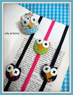 marcadores de páginas Owl Crafts, Diy Arts And Crafts, Cute Crafts, Hobbies And Crafts, Crafts For Kids, Sewing Projects, Projects To Try, Felt Bookmark, Diy Bookmarks