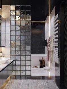 : Baños de estilo por Interior designers Pavel and Svetlana Alekseeva Bathroom Shower Curtain Sets, Small Bathroom With Shower, Modern Bathroom Sink, Bathroom Design Luxury, Modern Bathroom Design, Bathroom Layout, Bathroom Grey, Ikea Bathroom, Shower Curtains