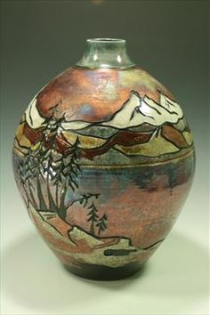 ___ Raku Vase Mountain carved Blue Spruce Gallery in Bend, OR has the most awesome pottery! Ceramic Pots, Ceramic Clay, Kintsugi, Raku Pottery, Thrown Pottery, Slab Pottery, Clay Vase, Pottery Techniques, Terracota
