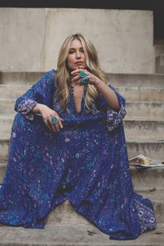 Is it a jumpsuit? Is it a maxi? Either way, it's amazing! Bold, blue & bohemian.