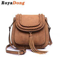 2016 Women Messenger Tassel Bag Hollow Out bolsa feminina bolso mujer PU Leather Shoulder Purse Handbags Saddle Crossbody Bags Small Crossbody Bag, Leather Crossbody Bag, Leather Bag, Leather Tassel, Leather Fashion, Leather Rivets, Saddle Leather, Shoulder Purse, Leather Shoulder Bag