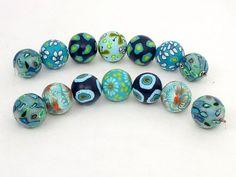 beads, fimo, sea color, Nautilus Perlenset aus Polymer Clay handgefertigt von polymerdesign