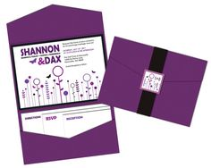 Purple Flower Pocket Fold Wedding Invitation Set by ImpressInk, $50.00