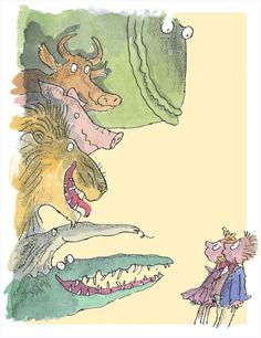 "Colorful characters from Roald Dahl's ""Dirty Beasts"", bought to life by illustrator Quentin Blake and available framed."