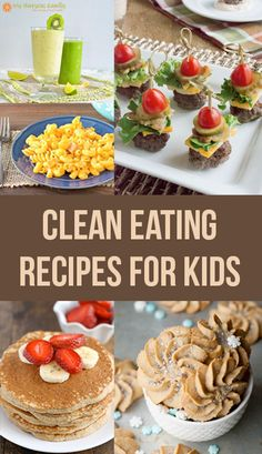 If your family is on a clean eating diet it can be difficult to find recipes that children can and will eat. I made a list of 50 clean eating recipes for kids that I hope are useful to you and your family. I also have links to other recipes that I think k Baby Food Recipes, Whole Food Recipes, Cooking Recipes, Diet Recipes, Healthy Recipes For Kids, Recipes For Children, Healthy Kid Friendly Recipes, Healthy Cookies For Kids, Vegetable Recipes For Kids