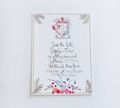 Happy Menocal Watercolor Wedding Save The Date Std Farm Pink Grey Gray White Chicken Pineapple Crest