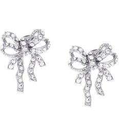 Talullah Tu Silver Ornate Bow Stud Earrings ($25) ❤ liked on Polyvore