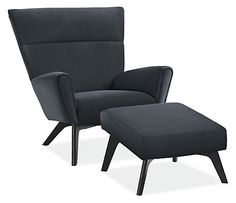 Boden Chair & Ottoman in Portofino Leather - Modern Accent & Lounge Chairs - Modern Living Room Furniture - Room & Board