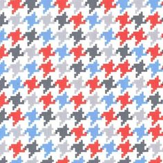 Blue Grey Red and White Everyday Houndstooth Fabric for Michael Miller, Everyday Houndstooth in Ozone, 1 Yard Pattern Images, Pattern Design, Houndstooth Fabric, Flannel Baby Blankets, Miller Homes, Michael Miller Fabric, Modern Fabric, Red And White, Blue Grey