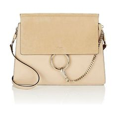 Faye medium shoulder bag-colorless by Chloe. Chloe beige smooth calfskin Faye medium shoulder bag styled with a suede front flap. Stamped logo...