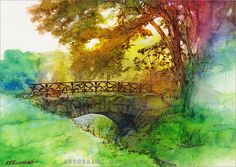 Birds are singing by *auroraink on deviantART - old stone bridge watercolor tyle painting